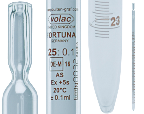 Graduated Pipettes | VOLAC FORTUNA® Graduated Pipettes available from Poulten & Graf | Superior Laboratory Products